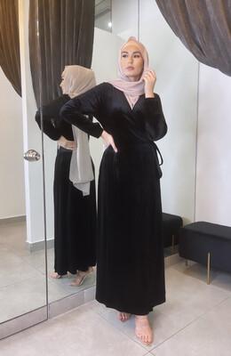 Velvet Wrap Dress Black