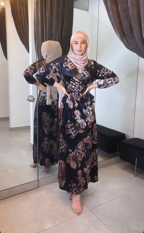 Velvet Wrap Dress Floral