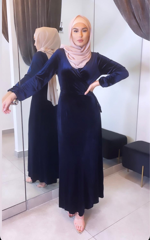 Velvet Wrap Dress Navy