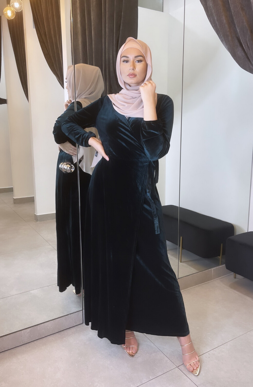 Velvet Wrap Dress Emerald