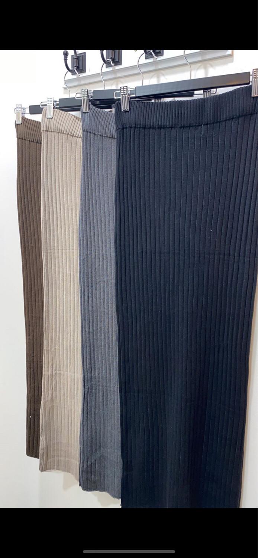 Basic Ribbed Skirt Khaki
