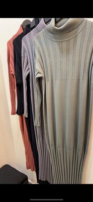 High Neck Knit Dress Grey
