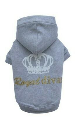 Hunde-Sweatshirt Doggydolly Diva Krone grau XL
