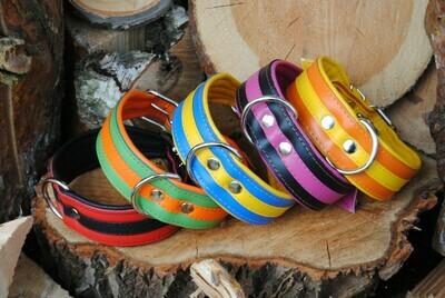 Lederhalsband zweifarbig mit Streifen