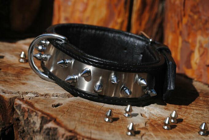 Lederhalsband Nieten Steel and Spikes