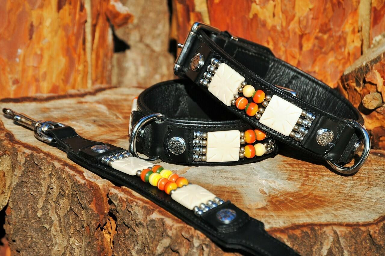 Lederhalsband Indian Dox Colours black Indianer Style