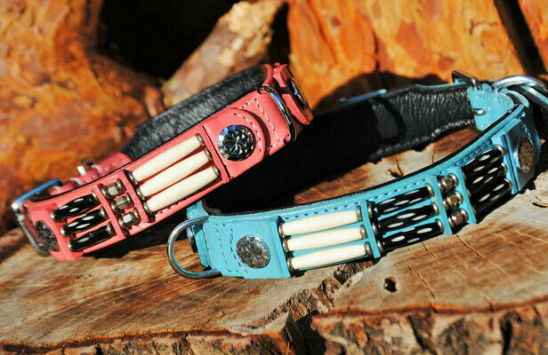 Lederhalsband Indian Dox Eagle Colours babyblue/pink Indianer Style