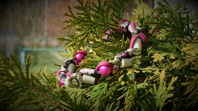 EM-Kette Blumen pink-moos / EM-Keramikketten / EM-Keramik Halsband gegen Zecken