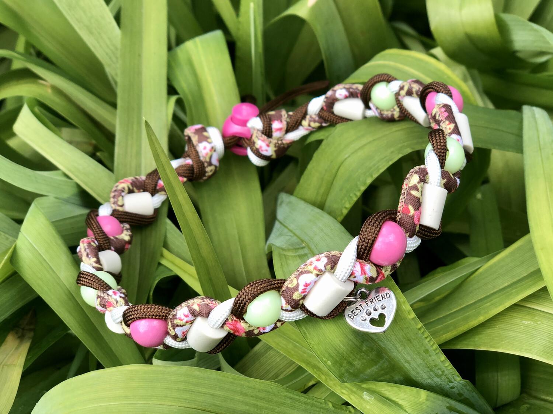 EM-Kette Flower fuchsia  / EM-Keramikketten / EM-Keramik Halsband gegen Zecken