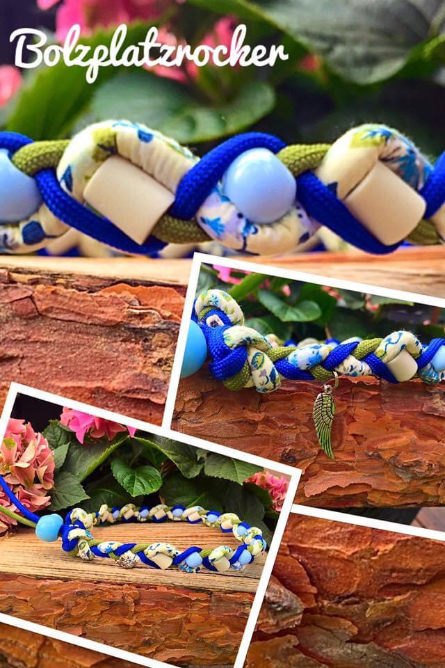 EM-Kette Flower königsblau/ EM-Keramikketten / EM-Keramik Halsband gegen Zecken
