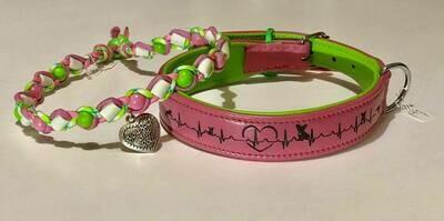 EM- Keramikkette und Lederhalsand rosa/grün