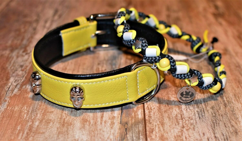 EM- Keramikkette und Lederhalsand gelb/schwarz