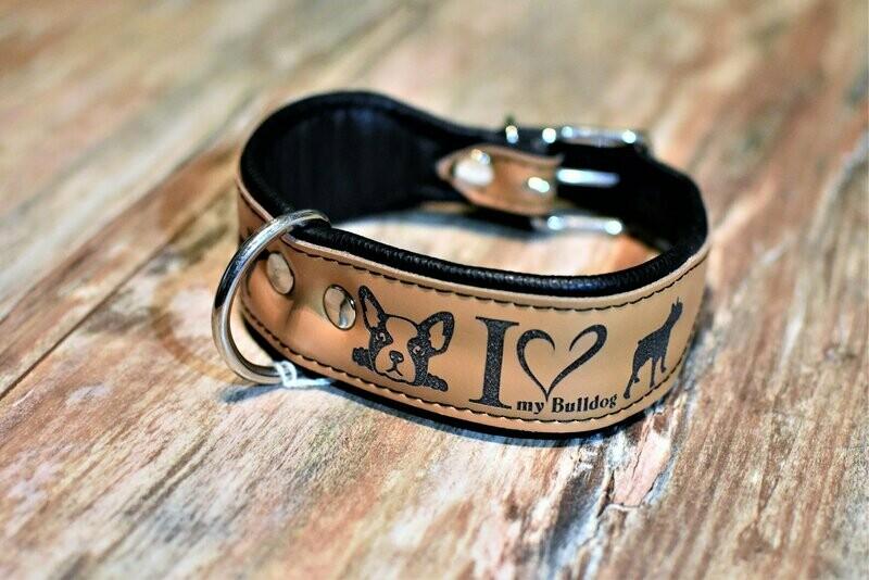 Lederhalsband mit Gravur 45cm caramel/ schwarz