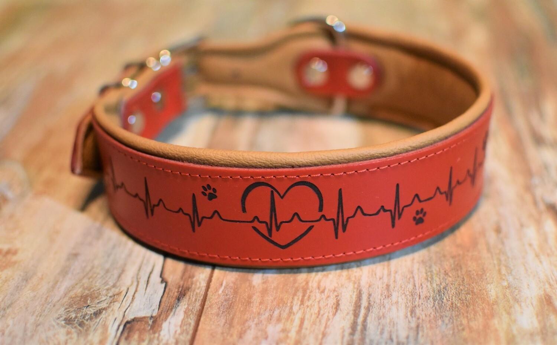 Lederhalsband mit Gravur 65cm Meine Herz... rot/natur