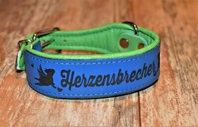 Lederhalsband mit Gravur 45cm blau/ grün