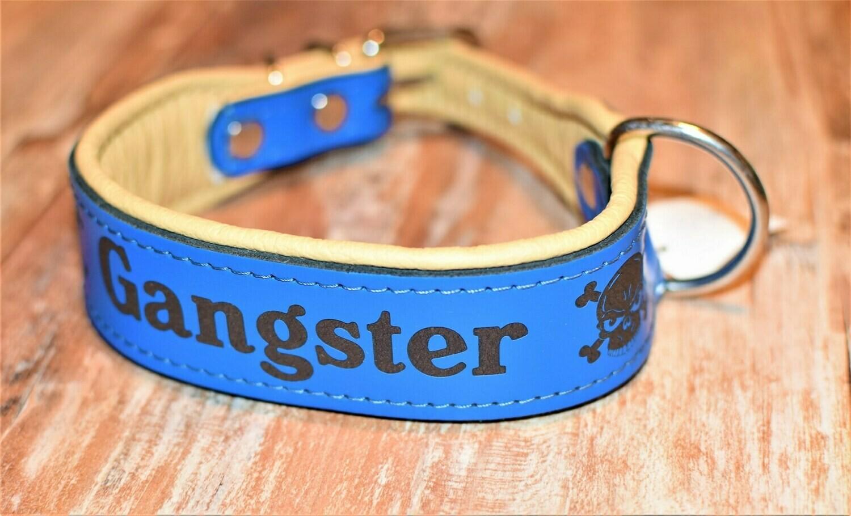 Lederhalsband mit Gravur 50cm blau/ natur