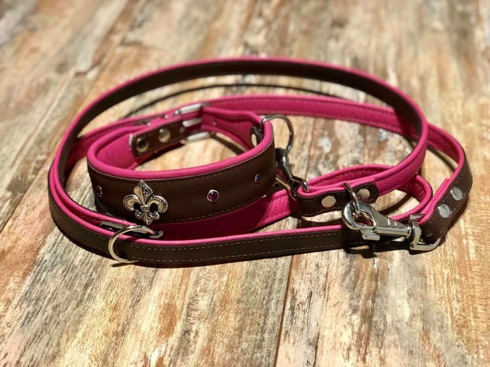 Lederhalsband mit Nieten 55cm im Set mit Leine braun/ pink
