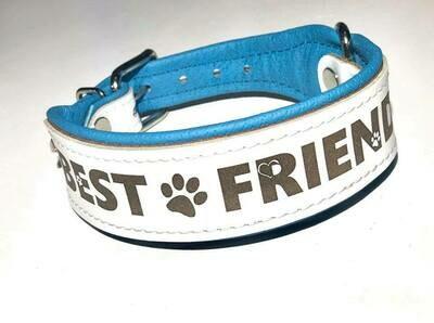 Lederhalsband mit Gravur 45cm weiß/ hellblau