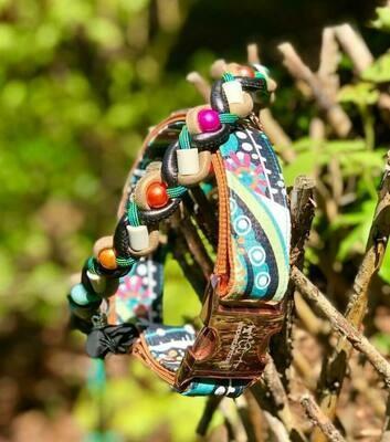 EM- Keramikkette und Lederhalsand türkis/ grau