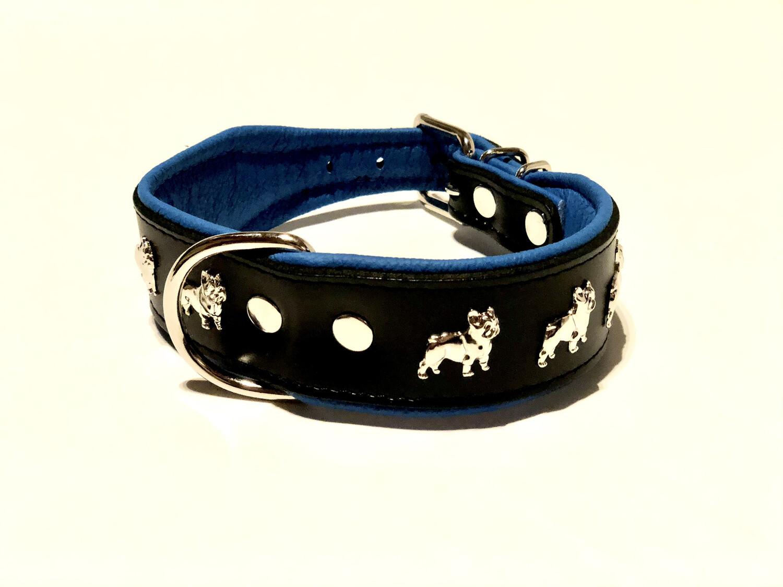 Lederhalsband mit Bullynieten 50cm Schwarz blau