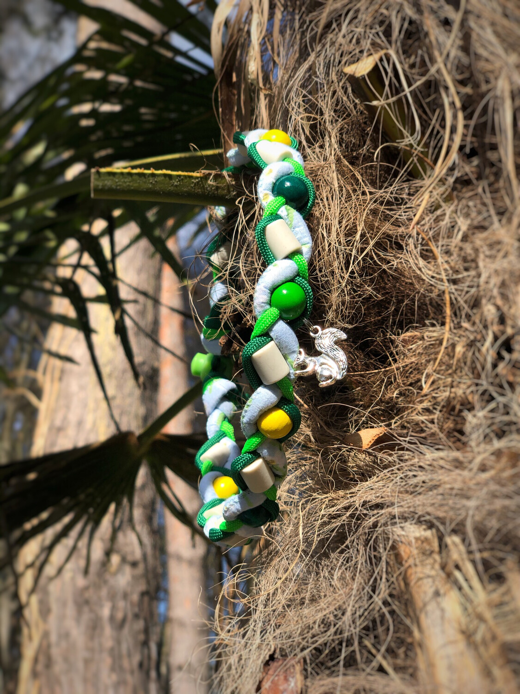 EM-Kette flower blue and green  / EM-Keramikketten / EM-Keramik Halsband gegen Zecken