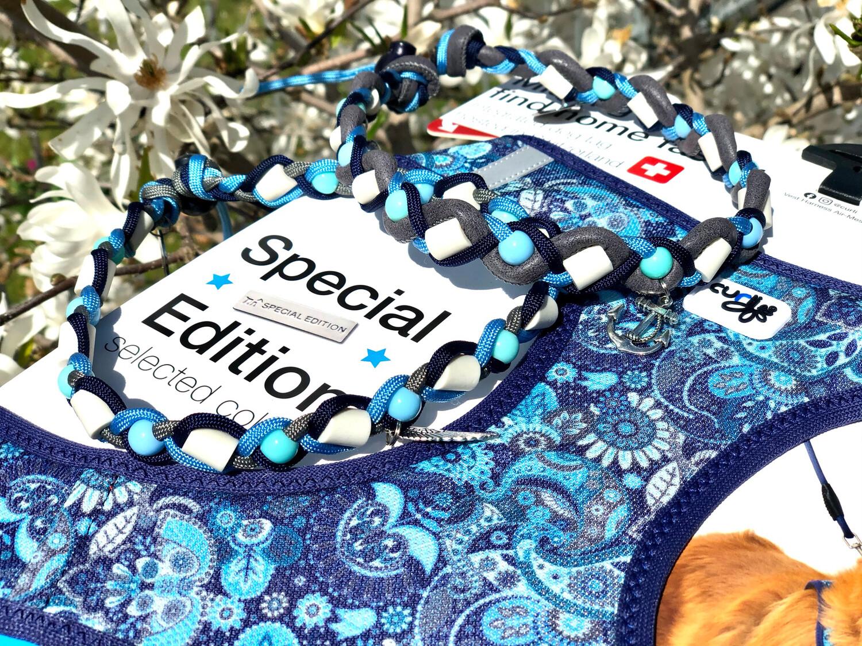 EM-Kette BLAU zu CURLI SE21 / EM-Keramikketten / EM-Keramik Halsband gegen Zecken