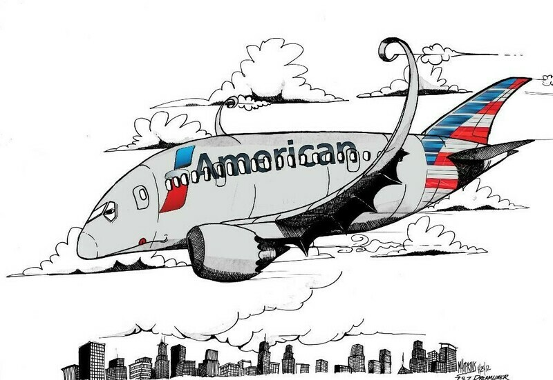 A/A 787 Limited Edition Aviation Caricature Print by Michael Hopkins