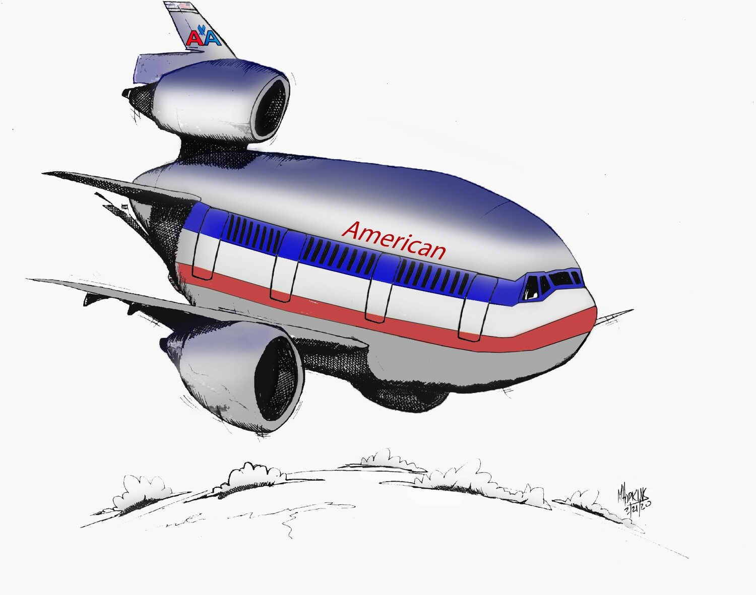 """American Airlines McDonnell Douglass DC-10 Aviation Caricature, 11"""" x 17"""" limited edition, signed print by Michael Hopkins"""