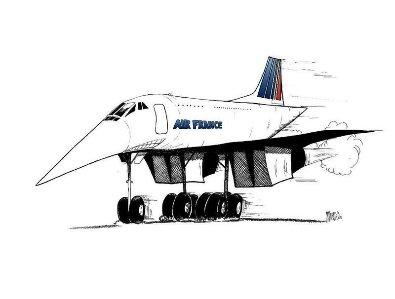 Concorde Limited Edition Aviation Caricature Print by Michael Hopkins