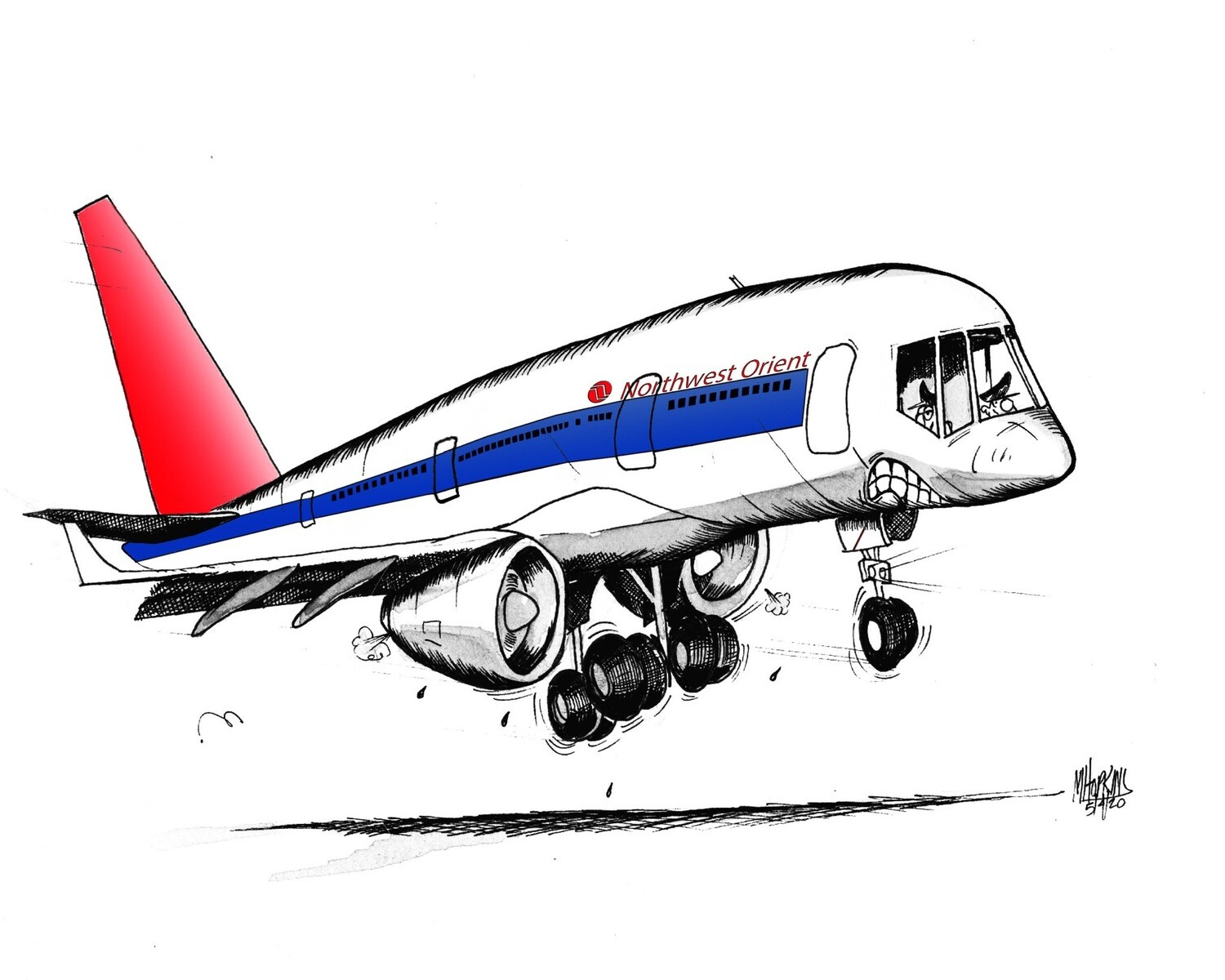 """Northwest Orient Boeing 757 Aviation Caricature, 11"""" x 17"""" limited edition, signed print by Michael Hopkins"""
