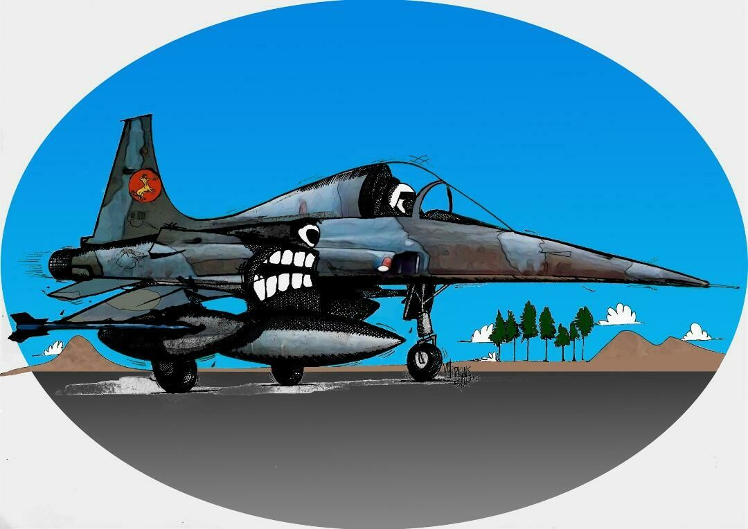 """Dutch Air Force NF-5 Aviation Caricature, 11"""" x 17"""" limited edition, signed print by Michael Hopkins"""