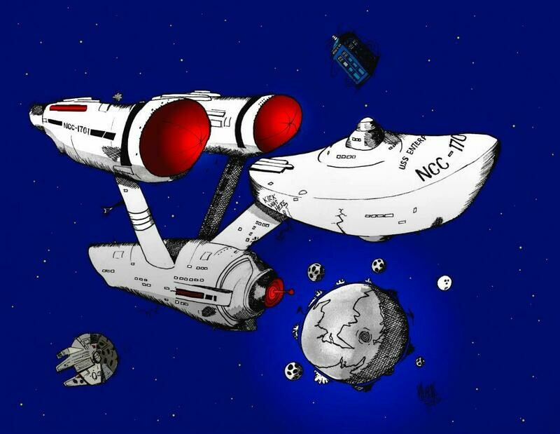 USS Enterprise Limited Edition Aviation Caricature Print by Michael Hopkins
