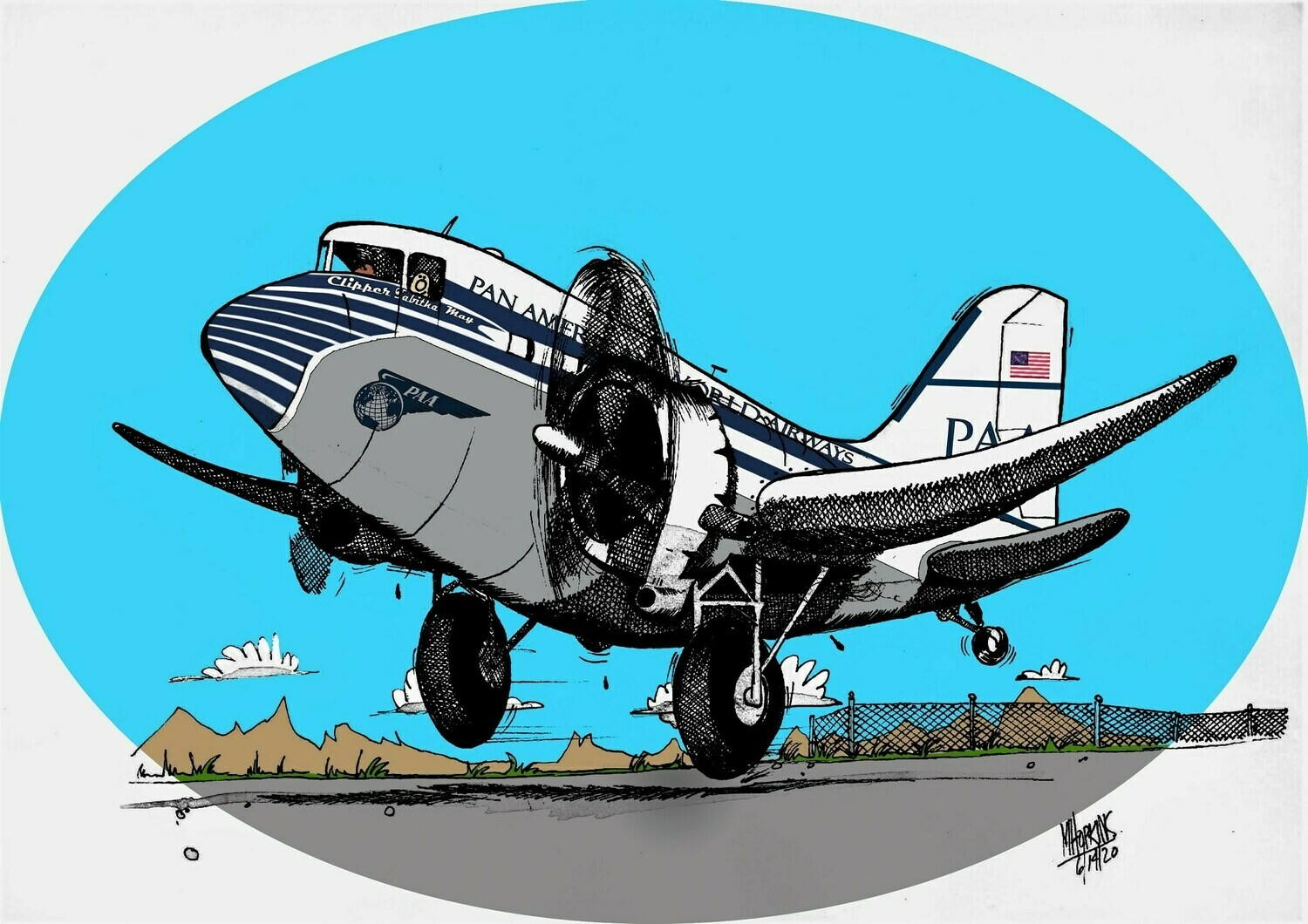 """Pan American Airways  Douglas DC-3 11"""" x 17"""", Limited Edition, Signed Print by Michael Hopkins"""