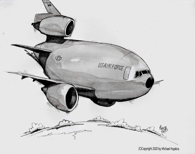 McDonnell Douglas KC-10 Extender - Original Pen & Ink Aviation Caricature by Michael Hopkins