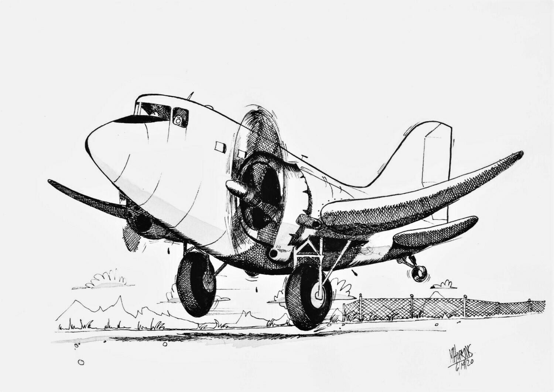 "Douglas DC-3 11"" x 17"" Original DC-3 Aviation Caricature by Michael Hopkins"