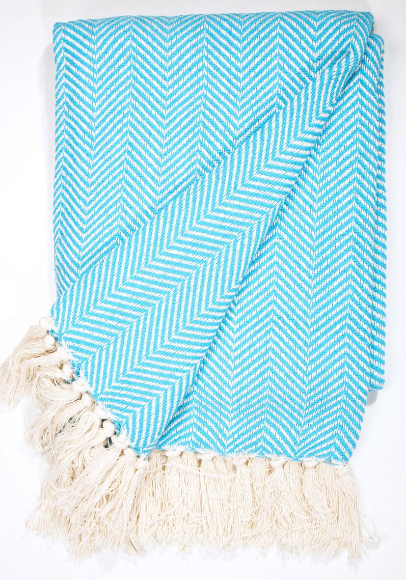 Cotton Blanket Ocean Blue