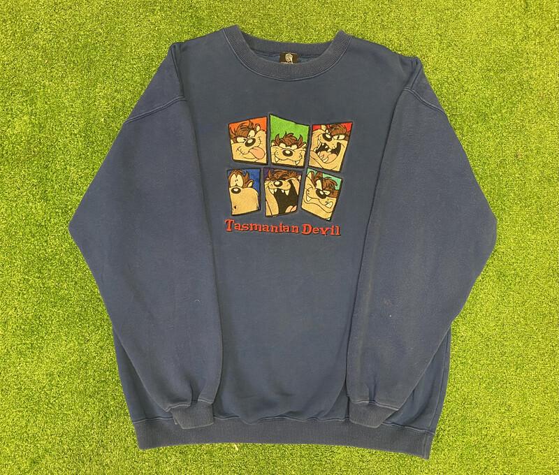 Taz Embroidered Crewneck Sweater Sz Medium