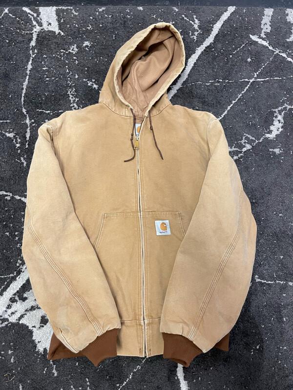 Khaki Carhartt Hooded Jacket Size Medium