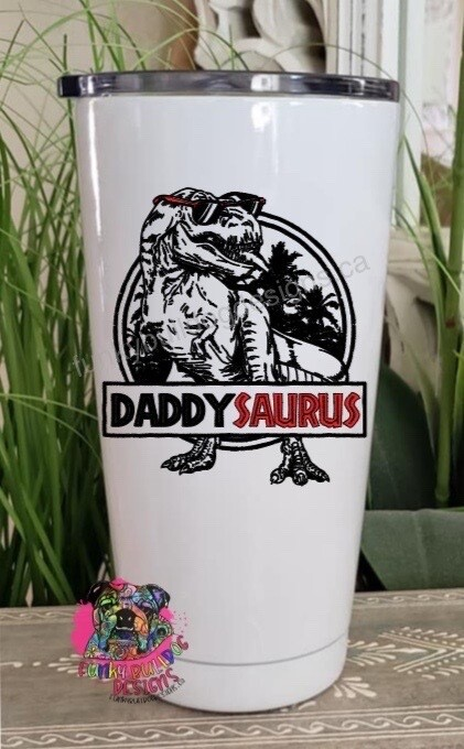 20oz Stainless Steel Tumbler - Mamasaurus or Daddysaurus