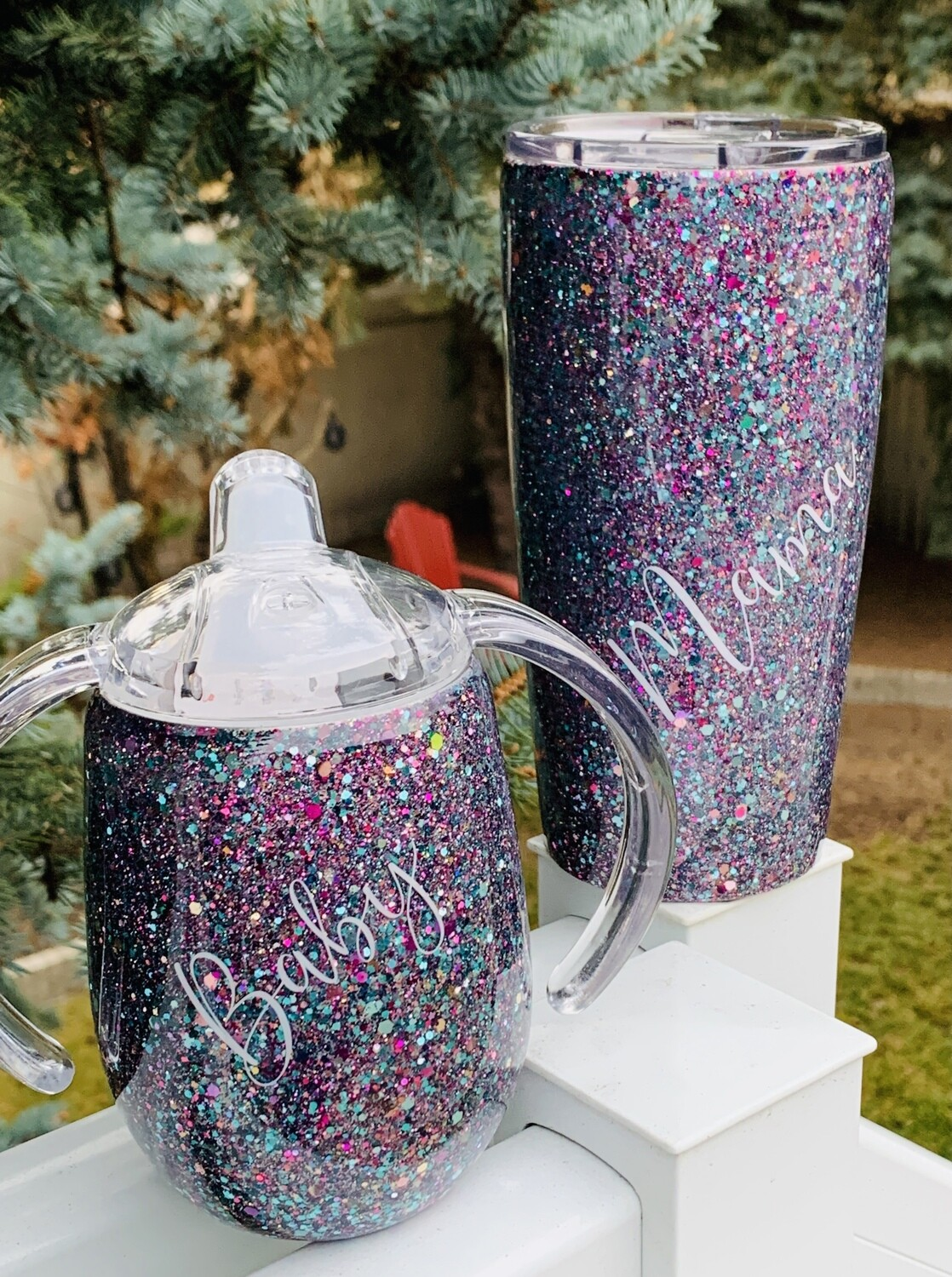 20oz & 9oz stainless steel tumblers with custom mix glitter - Mama/Baby set