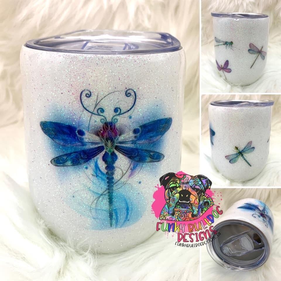 12oz glitter stainless steel wine tumbler - Dragonfly design
