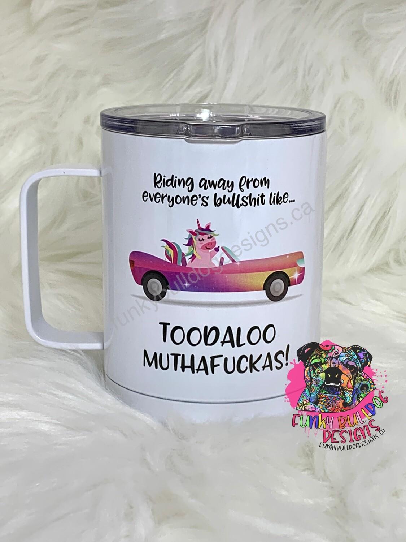 14oz Stainless Steel Coffee Mug - Toodaloo Unicorn