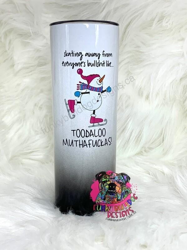 20oz stainless steel tall skinny - Toodaloo snowman