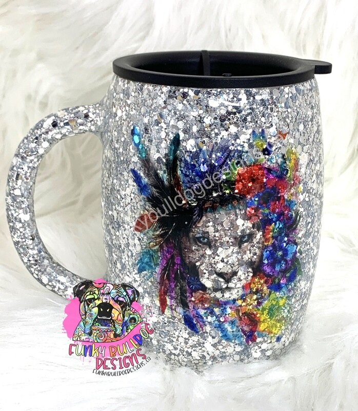 14oz stainless steel glitter put belly tumbler - water color design