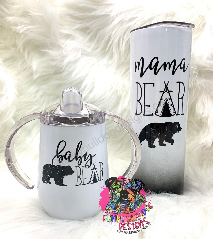 12oz wine tumbler & 9oz sippy - mama bear baby bear set
