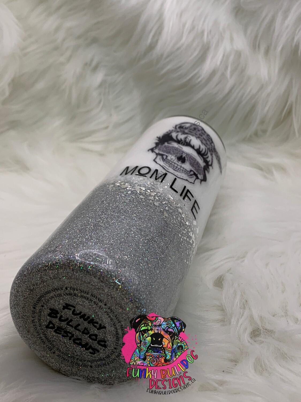 20oz stainless steel glitter tumbler - mom life