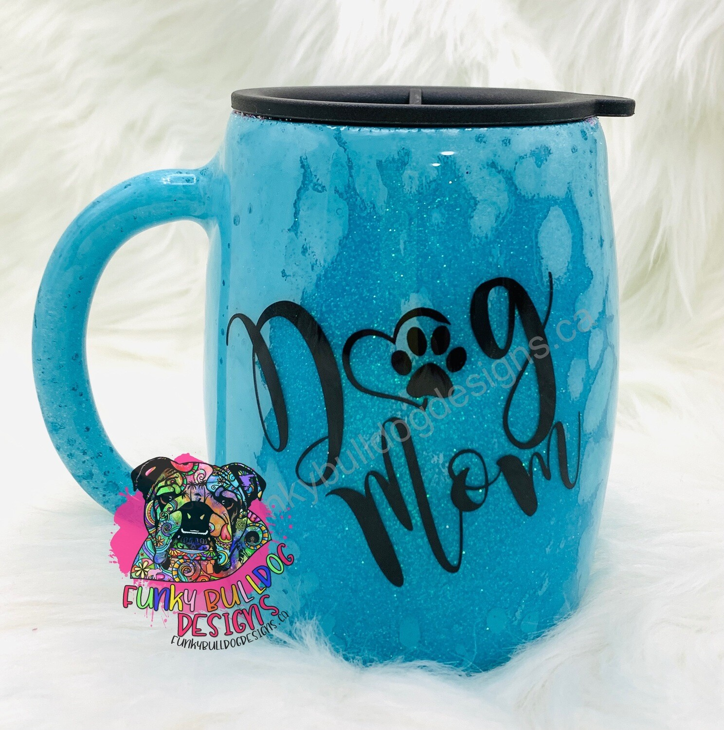 14oz stainless steel painted and glitter tumbler - Dog Mom