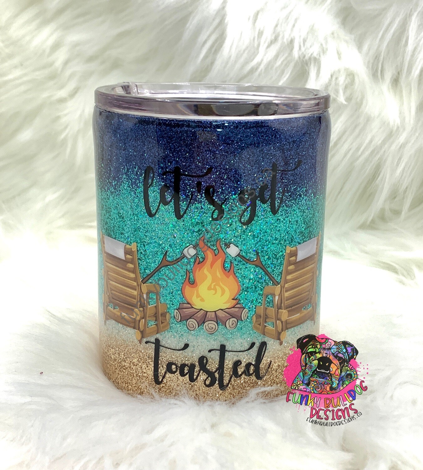 14oz glitter stainless steel lowball tumbler - let's get toasted