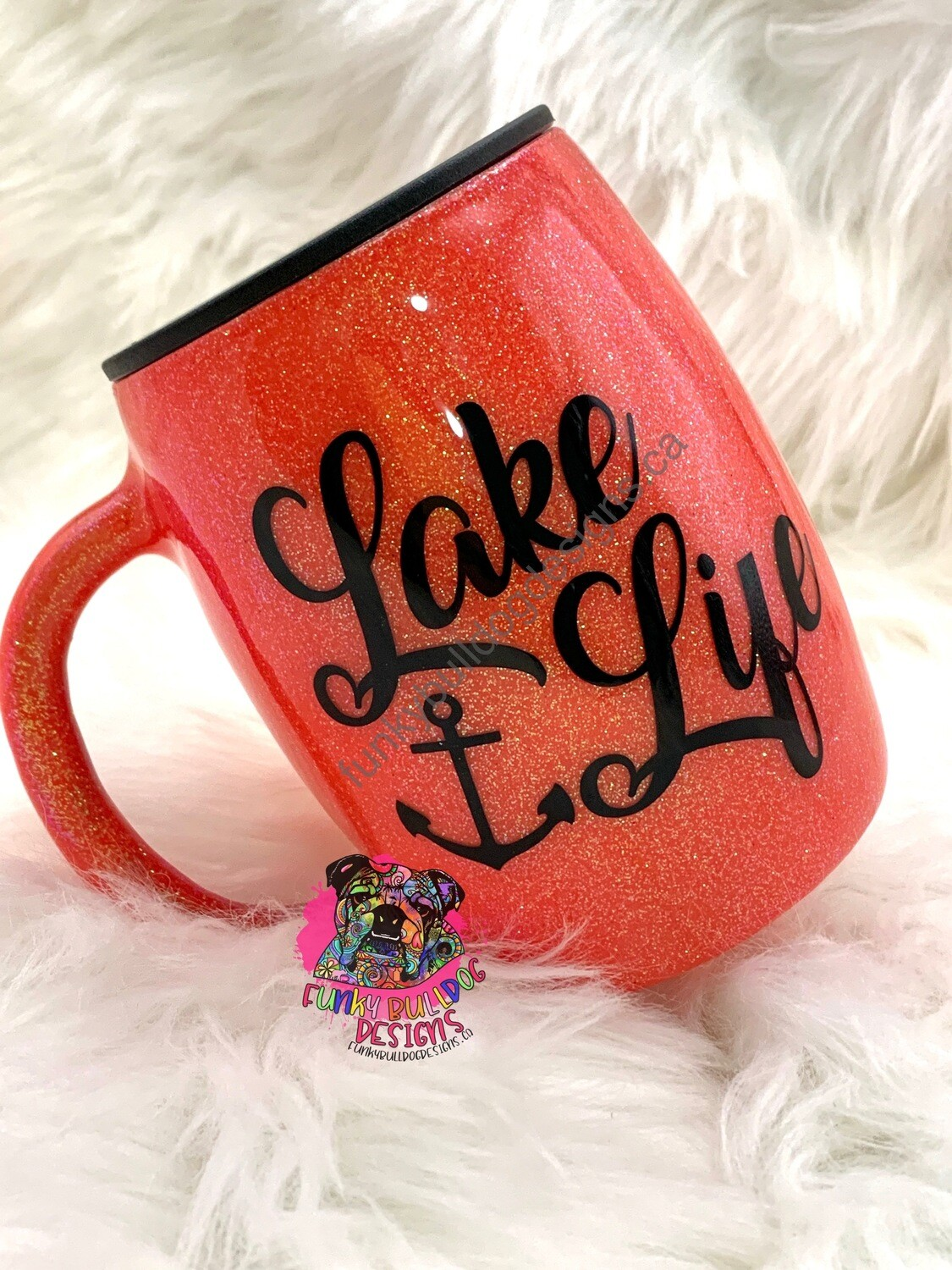14oz stainless steel painted and glitter tumbler - Lake Life