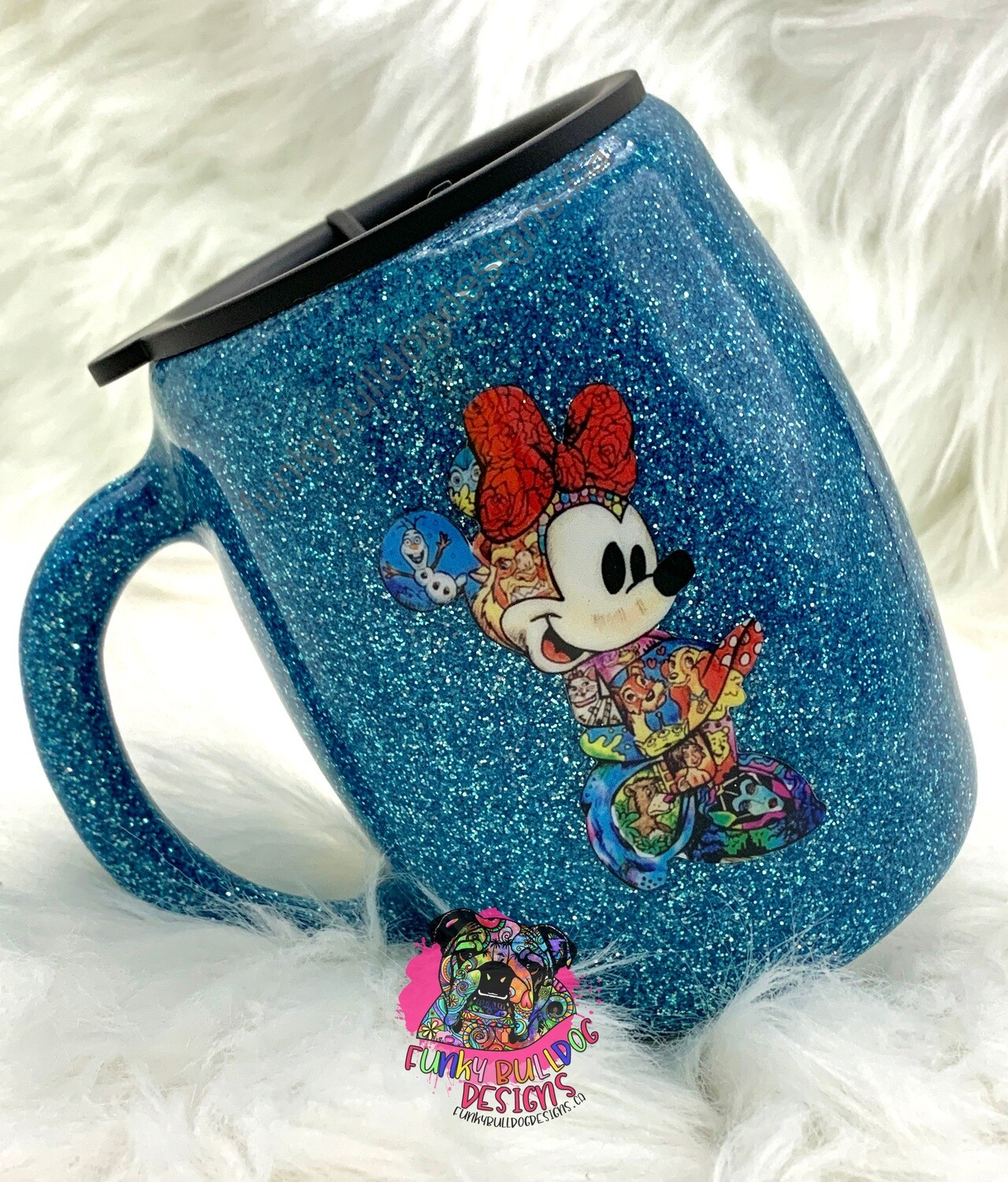 14oz stainless steel painted and glitter tumbler - Minnie